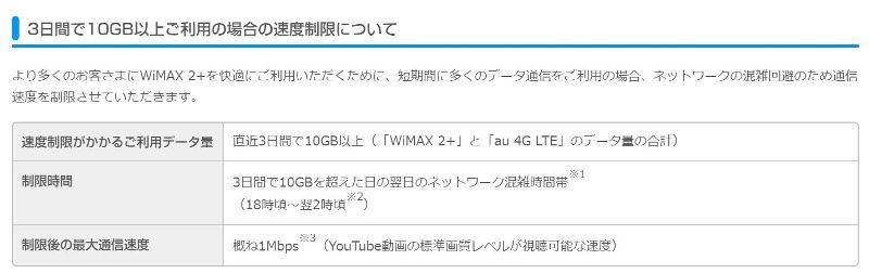 UQ WiMAXの速度制限の変更内容(2017年)
