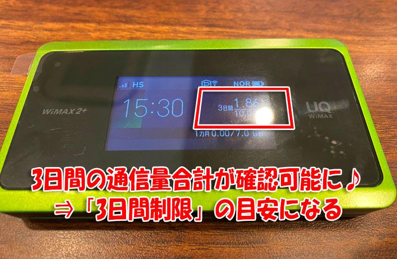 WiMAX-WX06は「3日間の利用通信量の合計」が表示されているので3日間制限の目安に確認しやすい